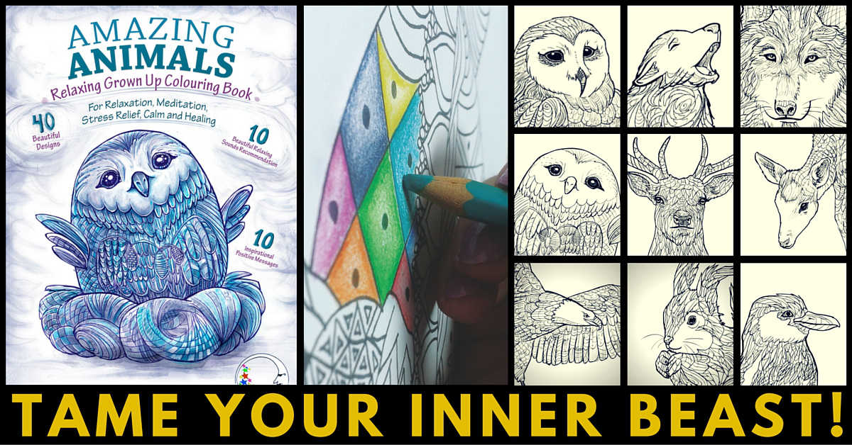 Amazing Animals for Relaxation - Adult Coloring Book for Stress Relief
