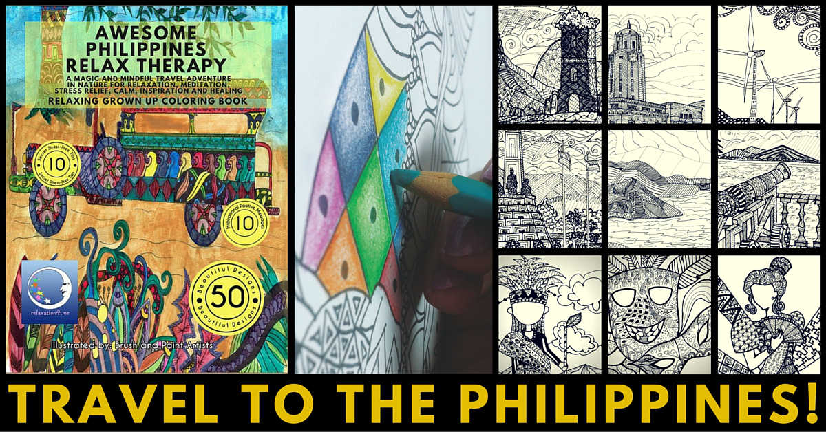 Awesome Philippines Relax Therapy - Adult Coloring Book for Stress Relief