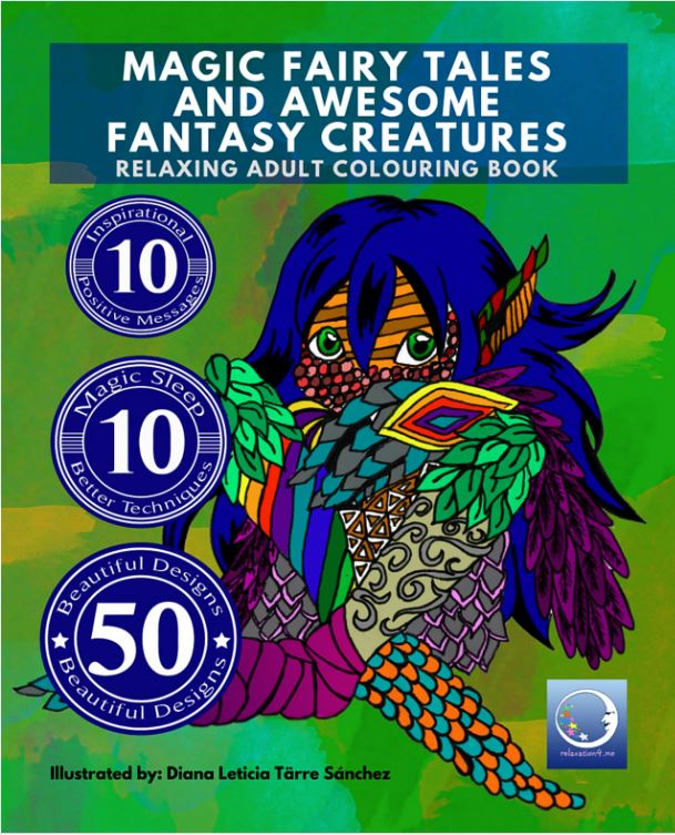 Magic Fairy Tales and Awesome Fantasy Creatures - Adult Coloring Book for Stress Relief